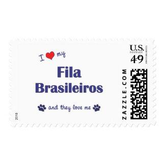 I Love My Fila Brasileiros (Multiple Dogs) Postage Stamps
