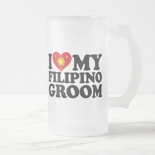 I Love My Filipino Groom Coffee Mugs
