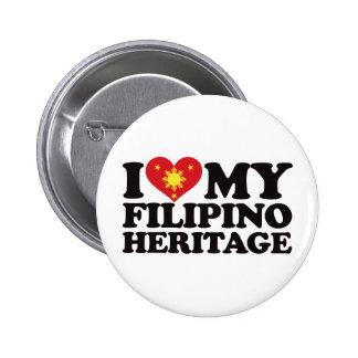 I Love My Filipino Heritage Button