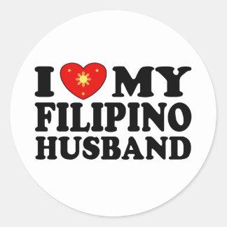 I Love My Filipino Husband Classic Round Sticker