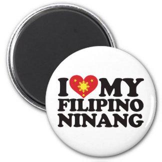I Love My Filipino Ninang 2 Inch Round Magnet