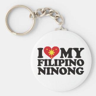 I Love My Filipino Ninong Basic Round Button Keychain