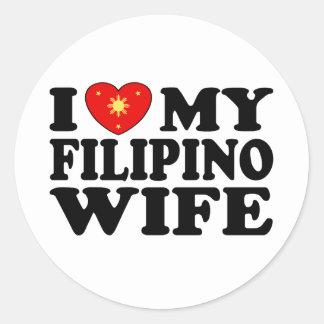 I Love My Filipino Wife Classic Round Sticker