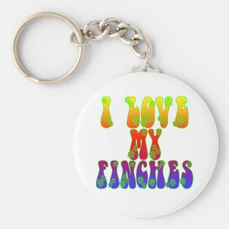 I Love My Finches Basic Round Button Keychain