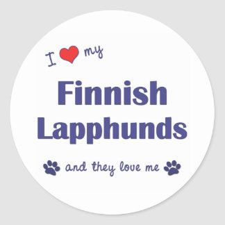 I Love My Finnish Lapphunds (Multiple Dogs) Classic Round Sticker