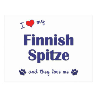 I Love My Finnish Spitze Multiple Dogs Postcards