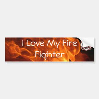I Love My Fire Fighter Bumper Sticker