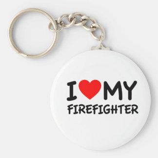 I love my firefighter basic round button keychain
