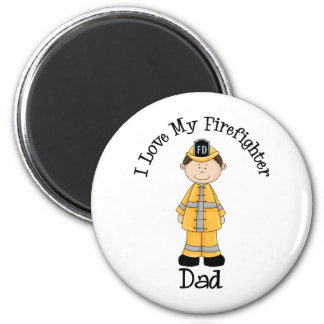 I Love My Firefighter Dad Dark Hair Magnets