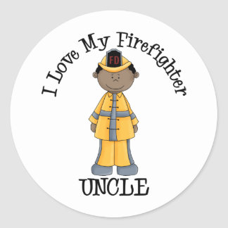 I Love My Firefighter Uncle African American Classic Round Sticker