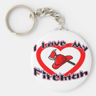 I Love My Fireman Basic Round Button Keychain