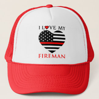 I Love My Fireman - Firefighter Trucker Hat