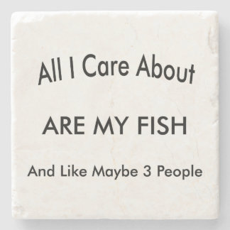 I Love My Fish Stone Beverage Coaster