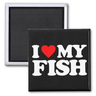 I LOVE MY FISH 2 INCH SQUARE MAGNET