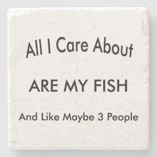 I Love My Fish Stone Coaster