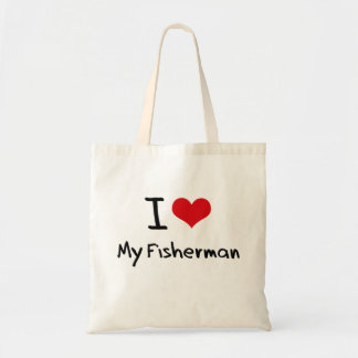 I Love My Fisherman Canvas Bags