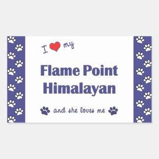 I Love My Flame Point Himalayan (Female Cat) Rectangular Sticker