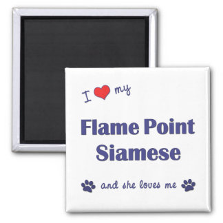 I Love My Flame Point Siamese (Female Cat) 2 Inch Square Magnet