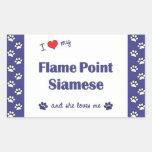 I Love My Flame Point Siamese (Female Cat) Rectangular Sticker