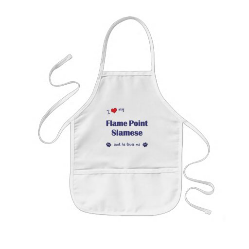 I Love My Flame Point Siamese (Male Cat) Aprons