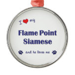 I Love My Flame Point Siamese (Male Cat) Ornament