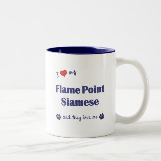 I Love My Flame Point Siamese (Multiple Cats) Two-Tone Coffee Mug