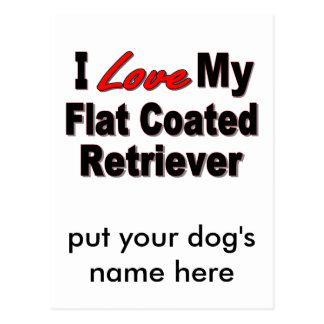I Love My Flat Coated Retriever Dog Gifts Postcard