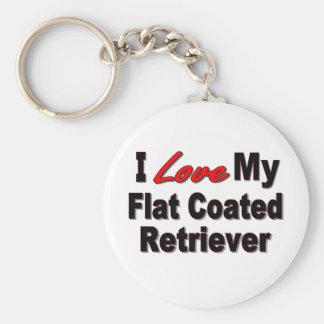 I Love My Flat Coated Retriever Keychain