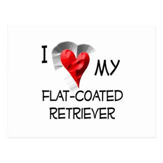 I Love My Flat-Coated Retriever Postcard