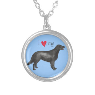 I Love my Flat-Coated Retriever Silver Plated Necklace