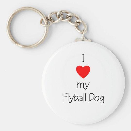I Love My Flyball Dog Keychain