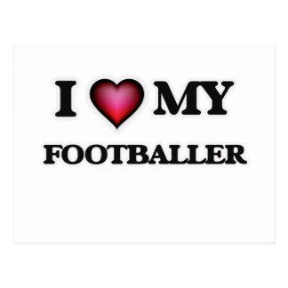 I love my Footballer Postcard