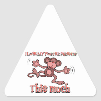I love my forster parents this much triangle sticker