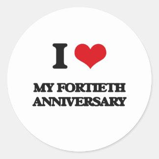 I Love My Fortieth Anniversary Round Sticker