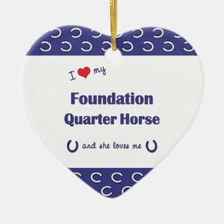I Love My Foundation Quarter Horse (Female Horse) Double-Sided Heart Ceramic Christmas Ornament