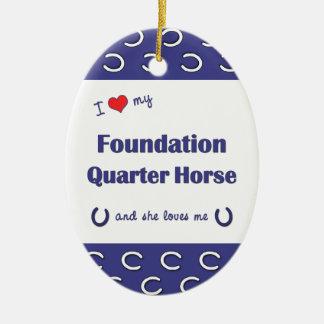 I Love My Foundation Quarter Horse (Female Horse) Double-Sided Oval Ceramic Christmas Ornament