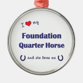 I Love My Foundation Quarter Horse (Female Horse) Round Metal Christmas Ornament