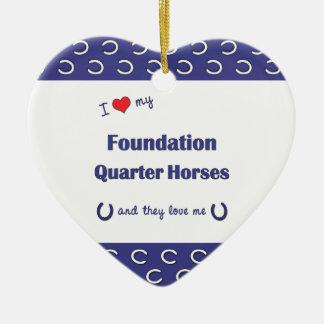 I Love My Foundation Quarter Horses (Multi Horses) Double-Sided Heart Ceramic Christmas Ornament