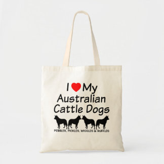 I Love My Four Australian Cattle Dogs Tote Bag
