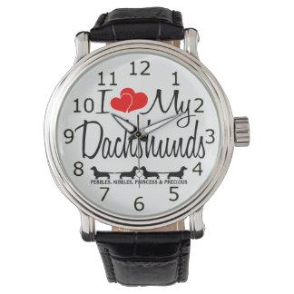 I Love My Four Dachshund Dogs Wristwatches