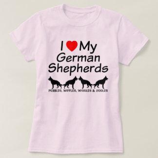 I Love My FOUR German Shepherds T-Shirt