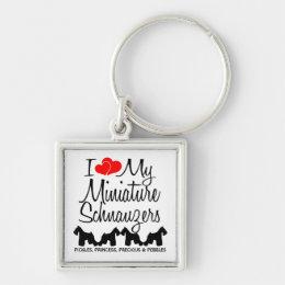 I Love My Four Miniature Schnauzers Keychain