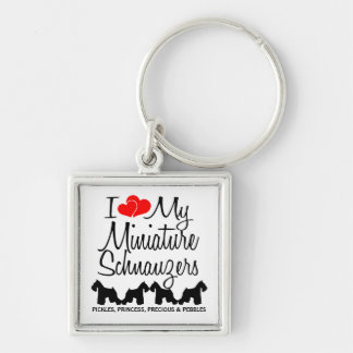 I Love My Four Miniature Schnauzers Keychain