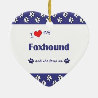 I Love My Foxhound (Female Dog) Double-Sided Heart Ceramic Christmas Ornament