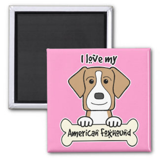 I Love My Foxhound 2 Inch Square Magnet