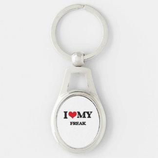 I Love My FREAK Silver-Colored Oval Metal Keychain