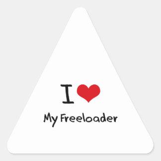 I Love My Freeloader Triangle Sticker