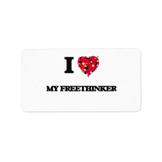 I Love My Freethinker Address Label