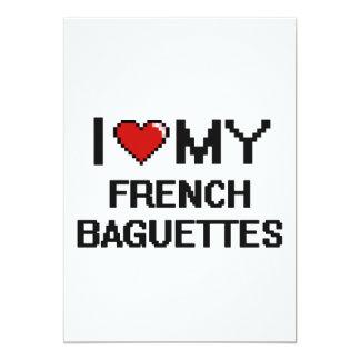 I Love My French Baguettes Digital design 5x7 Paper Invitation Card