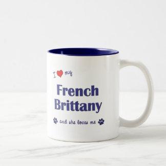I Love My French Brittany (Female Dog) Two-Tone Coffee Mug